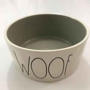 WOOF Rae Dunn Pet Bowl White Gray Interior 6""